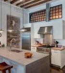 Интерьер кухни лофт в квартире-студии