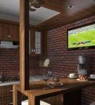 Тёмная отделка стен для кухни с дизайном лофт
