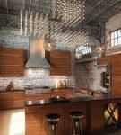 Коричневая мебель не кухне в стиле лофт