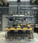 Кухня с высоким потолком в стиле лофт