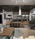 Просторная кухня в стиле лофт с коричневой мебелью