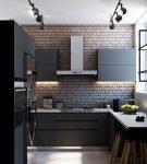 Тёмный интерьер лофт для кухни