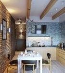 Декоративные балки на потолке маленькой кухни