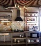 Маленькая кухня с оригинальным потолком в стиле лофт