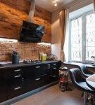 Шторы на маленькой кухне в стиле лофт