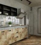 Оригинальный гарнитур на небольшой кухне лофт