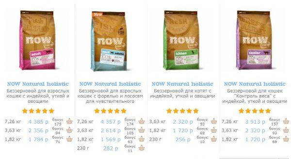 Цены на корм Now в интернет-магазине