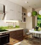 Растительный декор на небольшой кухне