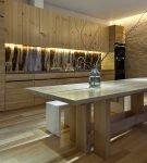 Светлая кухня в стиле эко с деревянной мебелью