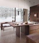 Строгая мебель в стиле эко на кухне