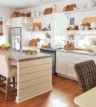 Бежевая мебель на кухне в стиле эко
