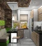 Коричневая мебель на современной кухне в стиле эко