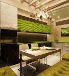 Зелёная и коричневая мебель в стиле эко