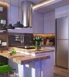 Зелёные стулья кухне с лаконичным интерьером эко