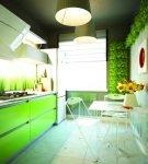 Ярко-зелёный гарнитур и сантехника на кухне