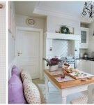 Клетчатые шторы и декор на окне кухни