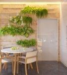 Растения в качестве декора кухни-столовой в эко стиле