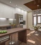 Красивые портьеры на лаконичной кухне