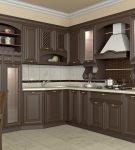 Строгий гарнитур в классической обстановке кухни