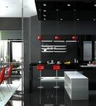 Интерьер кухни хай-тек с тёмных тонах