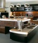 Необычная мебель в интерьере кухни хай-тек