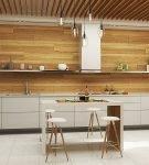 Отделка стены под древесину на кухне в стиле минимализм