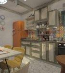 Яркий фартук в лаконичном интерьере кухни