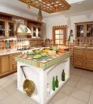 Красивый декор из плитки на кухне в стиле этно