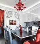 Красные детали в обстановке кухни в стиле ар-деко