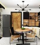 Контрастная мебель на кухне в стиле лофт