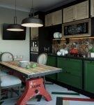 Зелёные элементы на кухне