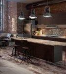 Большая кухня лофт с оригинальной мебелью