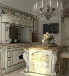 Мебель с позолотой в стиле барокко на кухне