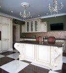 Интерьер кухни барокко с геометрическим узором на полу