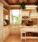 Светлая кухня с оформлением в стиле кантри