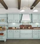 Балки на потолке кухни в стиле прованс
