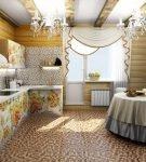 Красивый текстиль в интерьере в русском стиле