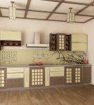 Просторная кухня в японском стиле