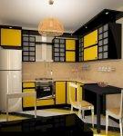 Жёлто-чёрный гарнитур в японском стиле