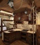 Кухня в морском стиле с отделкой из древесины