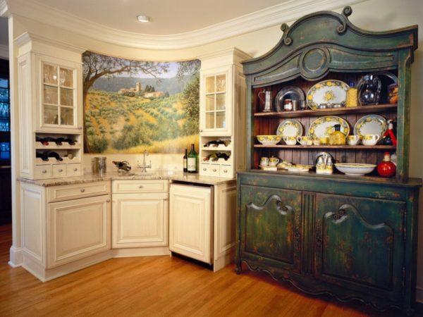Меблировка кухни шебби