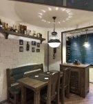 Красивое освещение кухни в морском стиле