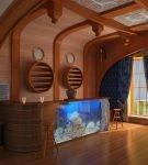Кухня с интерьером в морском стиле