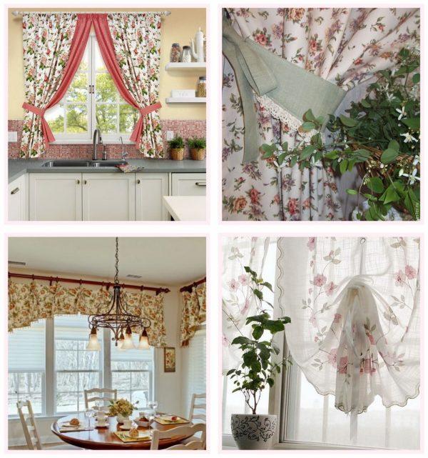 Кухонные шторы в дизайне шебби-шик