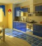 Жёлто-синяя кухня с морским декором