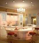 Точечные светильники и яркие стулья на кухне с морским декором