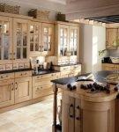 Бежевая мебель на кухне ретро в доме