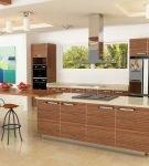 Большая кухня ретро в доме