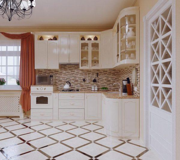 Светлая кухня с яркими шторами и плиткой на полу