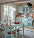 Кухня в стиле шебби-шик в бирюзовых окрасах